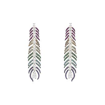 Boucles d'oreilles 925 Sterling Silver Multicoloured Rainbow Peacock Feather CZ Gift Drop