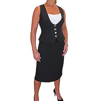 Women's Fully Lined Button Down Waistcoat Skirt Suit Washable Fully Lined Work Office Business 10-20