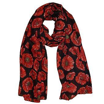 Poppy Print Lightweight Scarf | Black/Red