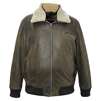 Wilson men's genuine cow bomber pilot leather jacket