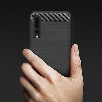 Voor Huawei P20 Pro Geborstelde textuur koolstofvezel schokbestendige TPU beschermhoes (grijs)