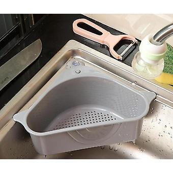 Kitchen Sink Mounted Triangular Strainer For Vegetables, Fruite, Sponge Holder,