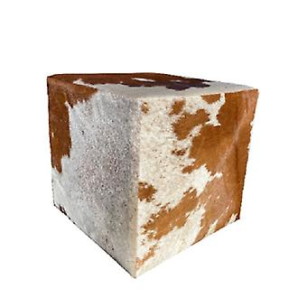 Spura Home Cowhide Square Ottoman Pouf Foot Rest
