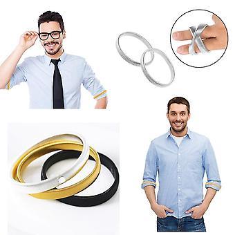 Anti-slip, Metal Shirt Sleeve Holders, Stretchy Armband Sleeve Garter Elastic