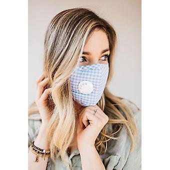 Blå Gingham ventilerad mask