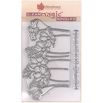 Woodware Clear Singles Cosmos Blomster 4 i x 6 i Stempel