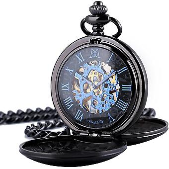 Pocket Watch - Double Engraved Skeleton Dial ManChDa Retro Mens Watch
