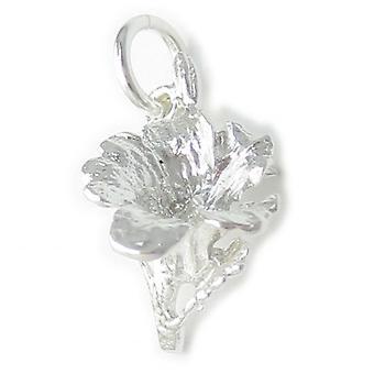 Hibiskus Blume Sterling Silber Charm .925 X 1 Pflanzen Und Blumen Charms - 4522