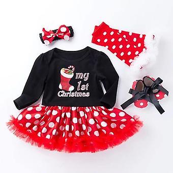 Vauva röyhelö mekko-tyylinen romper, kengät, sukat ja otsapanta, suuri piste