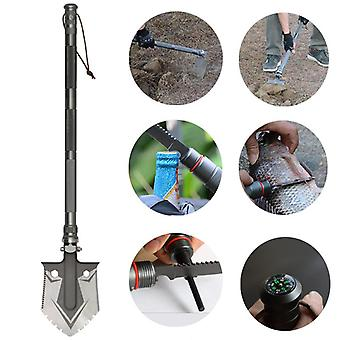 IPRee High-carbon Steel Multifunctional Tri-fold Shovels Outdoor Portable Shovel Survival Tools Kit