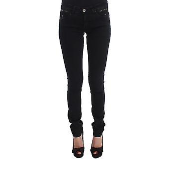 Kostüm National Black Cotton Slim Fit Jeans mit Top Reißverschluss Taschen