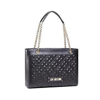 Laukku nainen rakkaus Moschino ostoksilla Ecopelle tikattu musta Bs21mo64 Jc4006