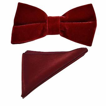 Papillon in velluto rosso scuro e Set quadrato tascabile