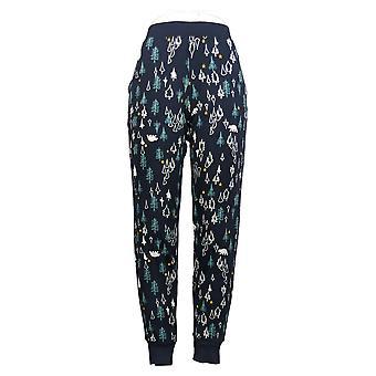 Cuddl Duds Women's Pajama Pants Jersey Knit Jogger Print Blue A381801