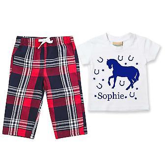 Personalisierte Pferd Tartan Hose Pyjamas