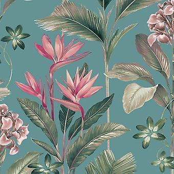 Oliana Floral Wallpaper Soft Teal Belgravia 8486
