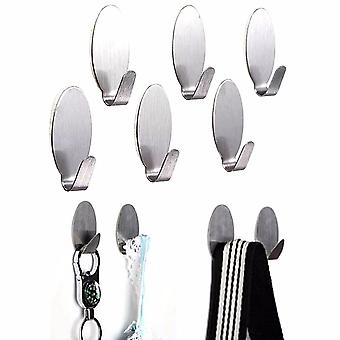 6pcs Stick On Silver Hook Strong Self Adhesive Sticky Coat Hat Metal Hanger