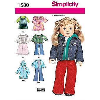 """פשטות תפירה דפוסים יצירתיים 1580 18"""" בובה בגדים מכנסיים שמלה ז'קט"""