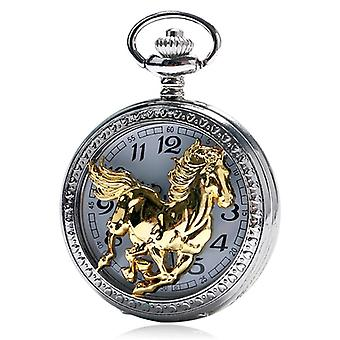 Vintage Bronze Pocket Watch Quartz Retro Horse Full Hunter Pendant Watch