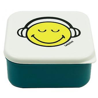 lunchbox Smiley 12 x 12 cm Polypropyleen blauw/wit