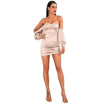 Women Sexy Nude Off-The-Shoulder Tube Top Mini Party Dress Loose Sleeves Bodycon