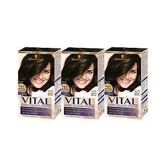 Schwarzkopf Vital Colors 4-0 Medium Brown Permanent Hair Colour Dye x 3 Pack