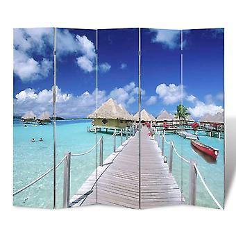 vidaXL غرفة مقسم قابل للطي 200 × 170 سم الشاطئ