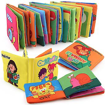 6pcs Fruits Numbers Colors Shapes Character Animals Educational Fabric Book With Sound Paper Soft Cloth Book