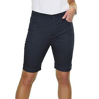 Frauen's Mid Rise Über dem Knie Stretch Jeans Stil Chino Shorts Turn Up Manschette 10-20