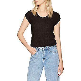 Only ONLSILVERY S/S V Neck Top Jrs Noos T-Shirt, Schwarz (Black Detail: Cobber Lurex), Medium Damen