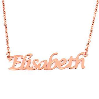 KL Elisabeth - 18 karan ruusu kullattu kaulakoru, muokattavissa nimi, säädettävä ketju 16-19 cm