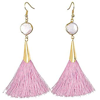 KYEYGWO - Women's pendant earrings, bohemian style, with tassel, vintage style, with white shell and gold plated, color: Ref. 0715444118326