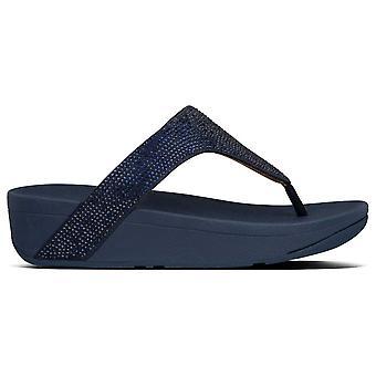 Fitflop™ Lottie Navy Blue Shimmer Crystal Toe Post Sandaal
