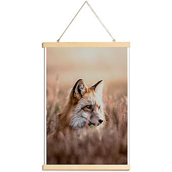 JUNIQE Print - Fox in Reeds - Foxes Poster in Brown & Orange