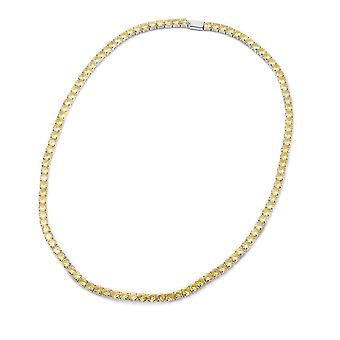 Simulated Yellow Sapphire Tennis Necklace 17 in Silver Tone Christmas Gift