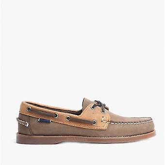 Sebago Portland Rookies Mens Leather Deck Shoes Dark Brown