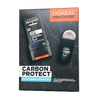 L'Oreal Mænd Ekspert af LOreal Carbon Protect Set - Shower Gel 300ml Anti Perspirant Roll på 50ml