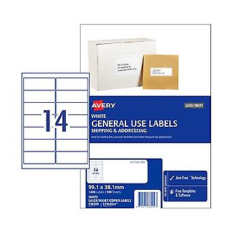 Avery General Label L7163Gu 14Up Box Of 100
