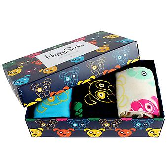 Happy Socks 3 Pack Mixed Dog Gift Box Chaussettes - Blanc / Marine / SkyBlue