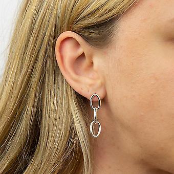 Principios 925 Plata de Ley Mujer Gran Diseño de Cadena de Eslabón Pendientes Colgantes