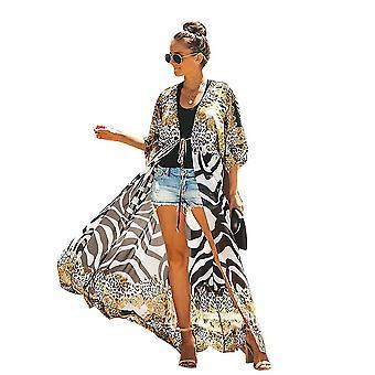 Chiffon Summer Bikini Cover Up Suncreen Leopard Pattern Long Beachwear Cardigan