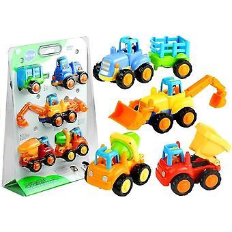 Set mit 4 kleinen Lastwagen - Spielzeugautos mit Fahrer