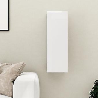 "vidaXL ארון טלוויזיה מבריק גבוה לבן 30.5x30x90 ס""מ שבב"
