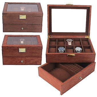 10 Bijoux stockage Double couche Rosewood Walnut Watch Box Watch Storage Collect