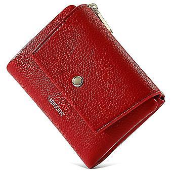 Zipper coin purse Multi-card PU wallet(Red)