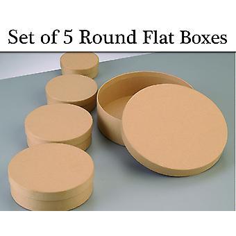 5 Diverse ronde flat paper mache stapeldozen met deksels te versieren