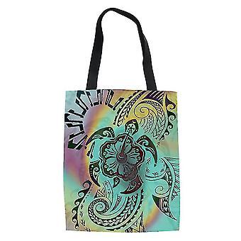 Polynesian ethnic style women's bolsa de compras bolso de mano de comestibles