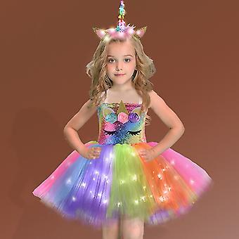 Tytön kiiltävä yksisarvinen Tutu Princess -mekko juhliin