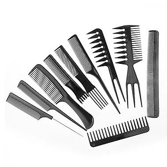 Hair Comb Set, 10pcs Hair Stylists Professional Styling Comb Set For All Hair Types And Styles(black)