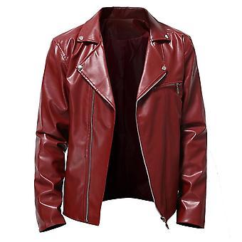 Homemiyn Hombre Color Puro Solapa Cremallera Chaqueta de Cuero Casual Slim Coat